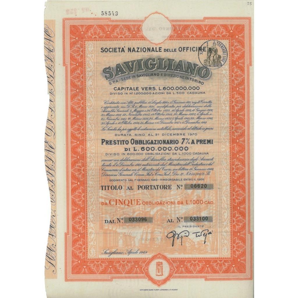 OFFICINE DI SAVIGLIANO - 5 OBBLIGAZ. 1949