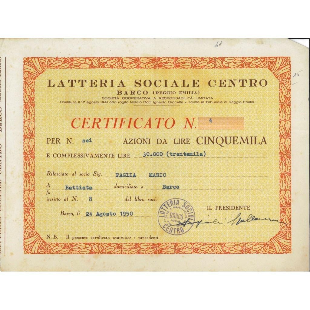 LATTERIA SOCIALE CENTRO - 6 AZIONI BARCO 1950