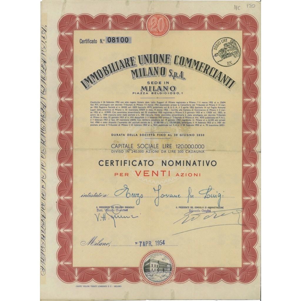 IMM. UNIONE COMM. MILANO SPA - 20 AZIONI MILANO 1954