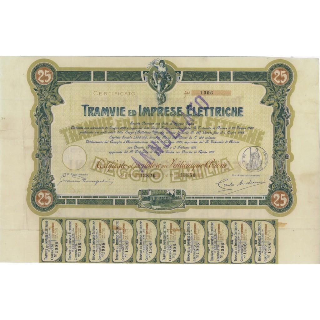 TRAMVIE ED IMPRESE ELETTRICHE - 25 AZIONI ANCONA 1908