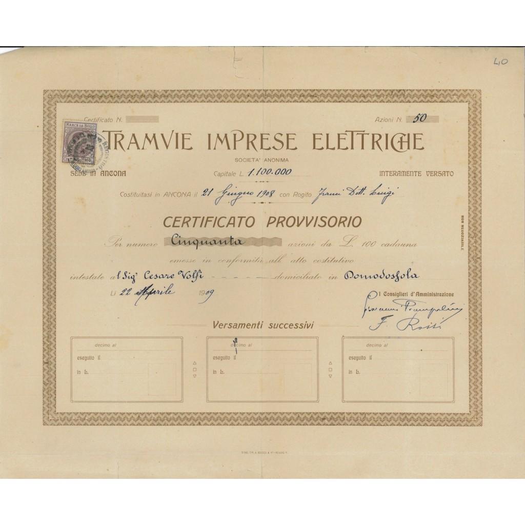 TRAMVIE IMPRESE ELETTRICHE - 50 AZIONI - ANCONA 1908