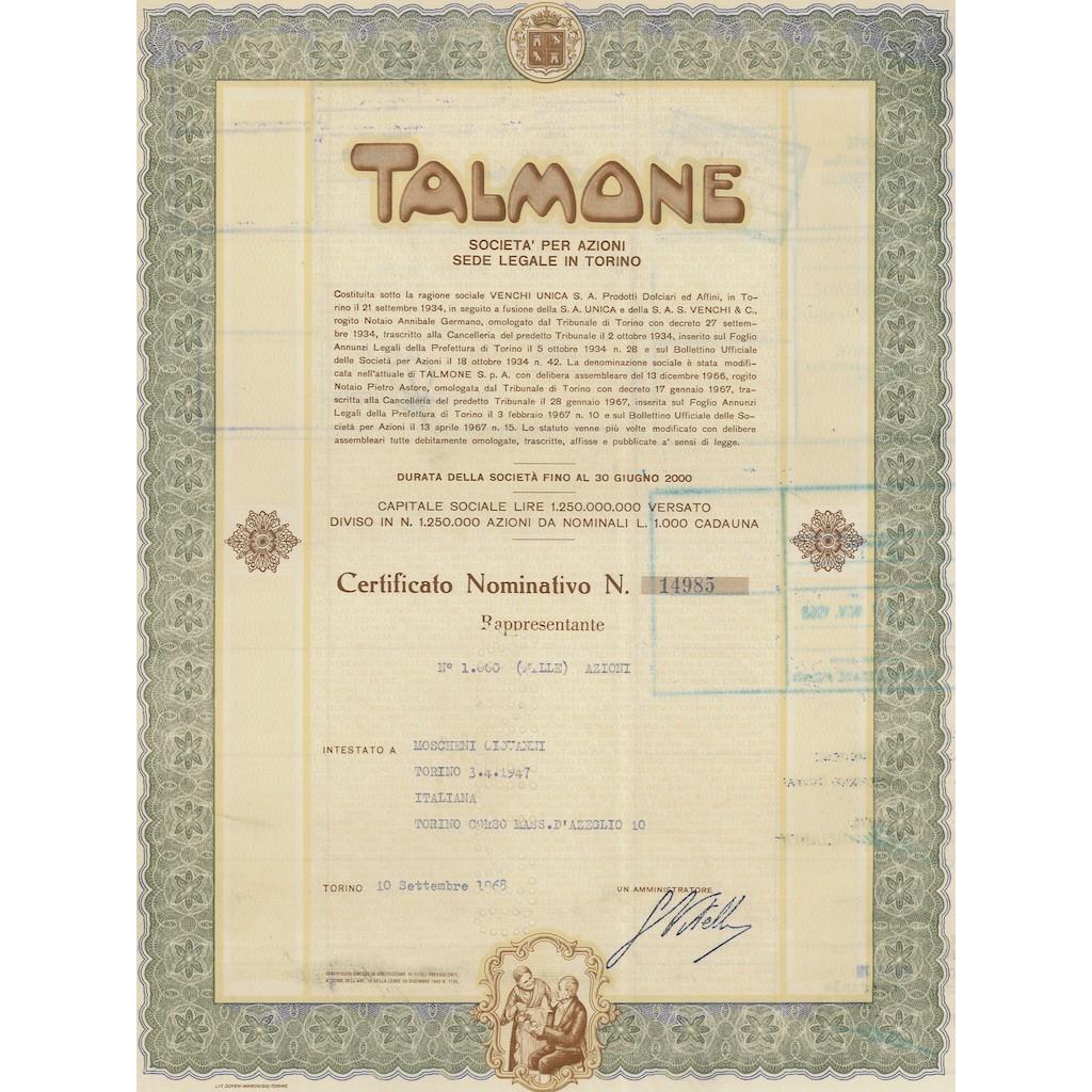TALMONE CERTIFICATO DA 1000 AZIONI TORINO 1968