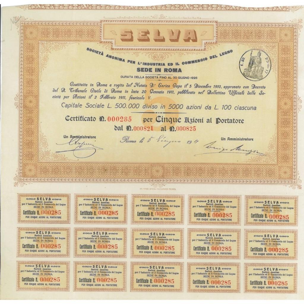 SELVA - 5 AZIONI - ROMA 1911