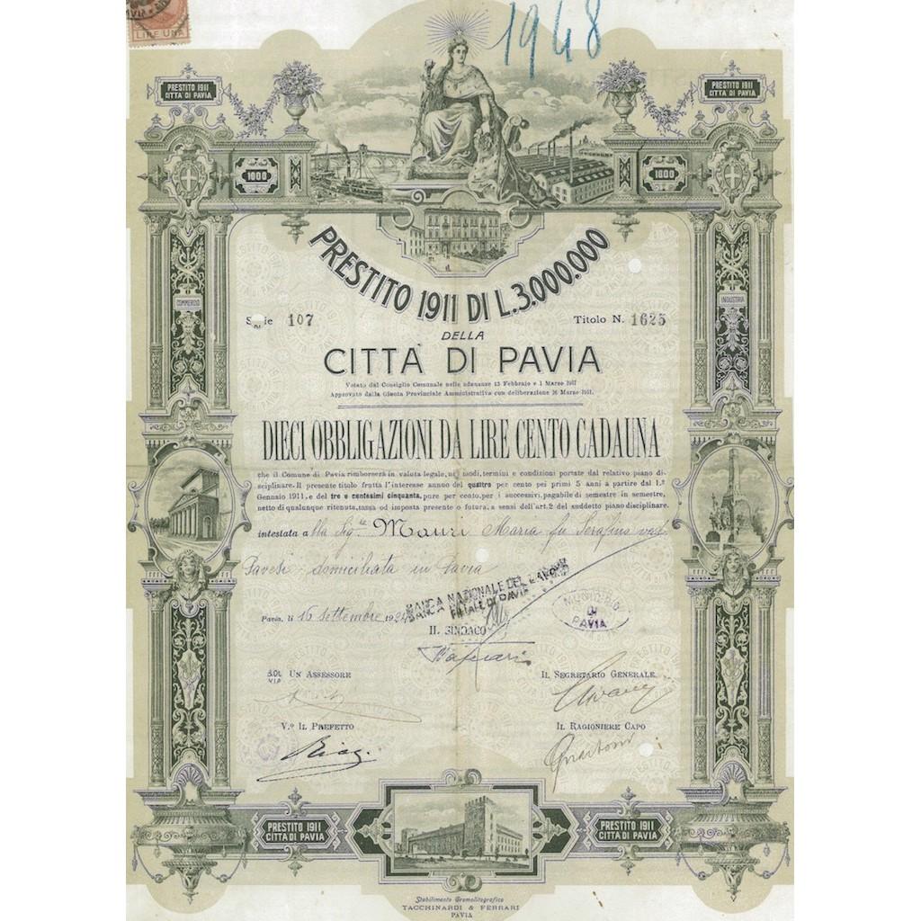 CITTA' DI PAVIA 10 OBBLIGAZIONI DA LIRE 100 CADAUNA 1924