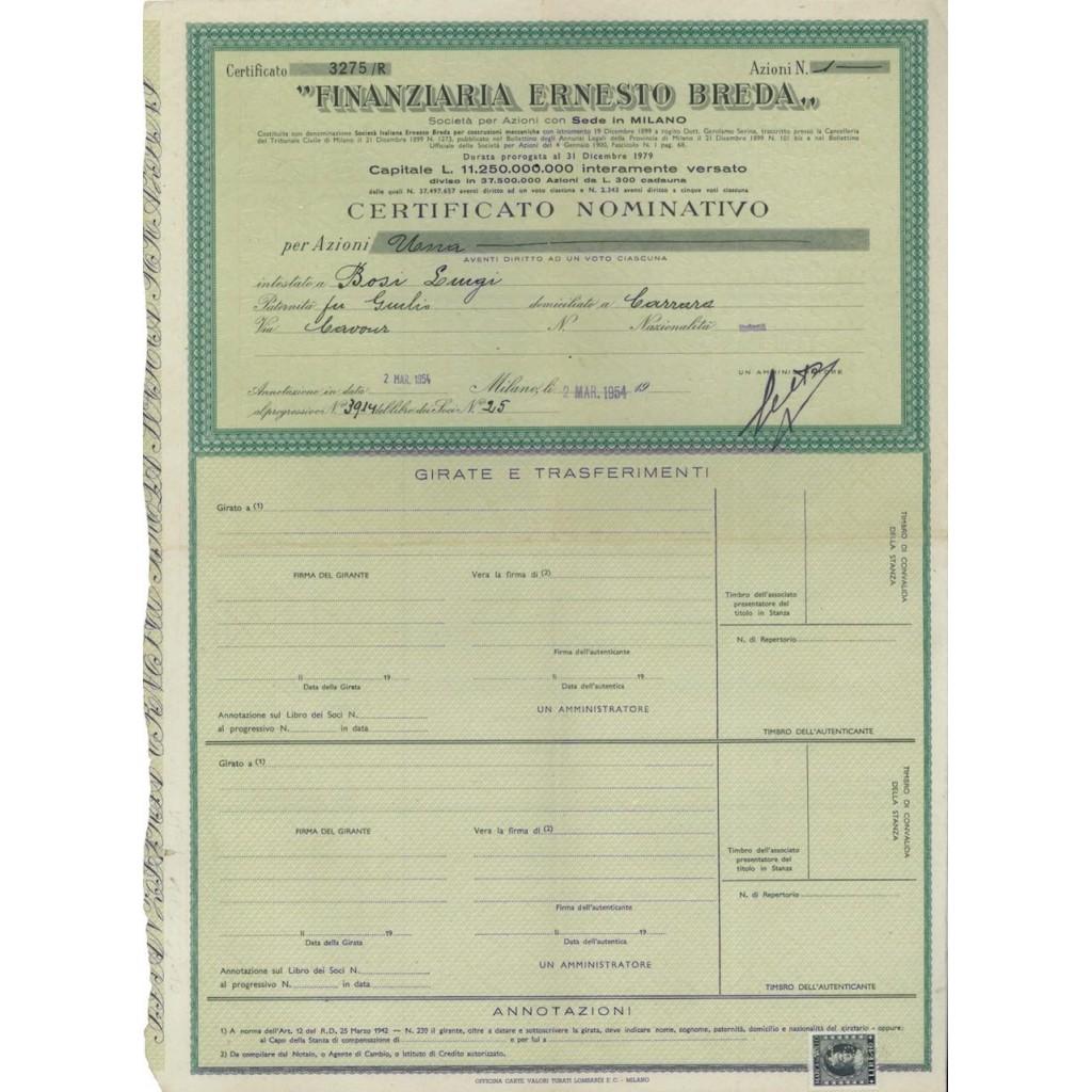 FINANZIARIA ERNESTO BREDA - UNA AZIONE MILANO 1954