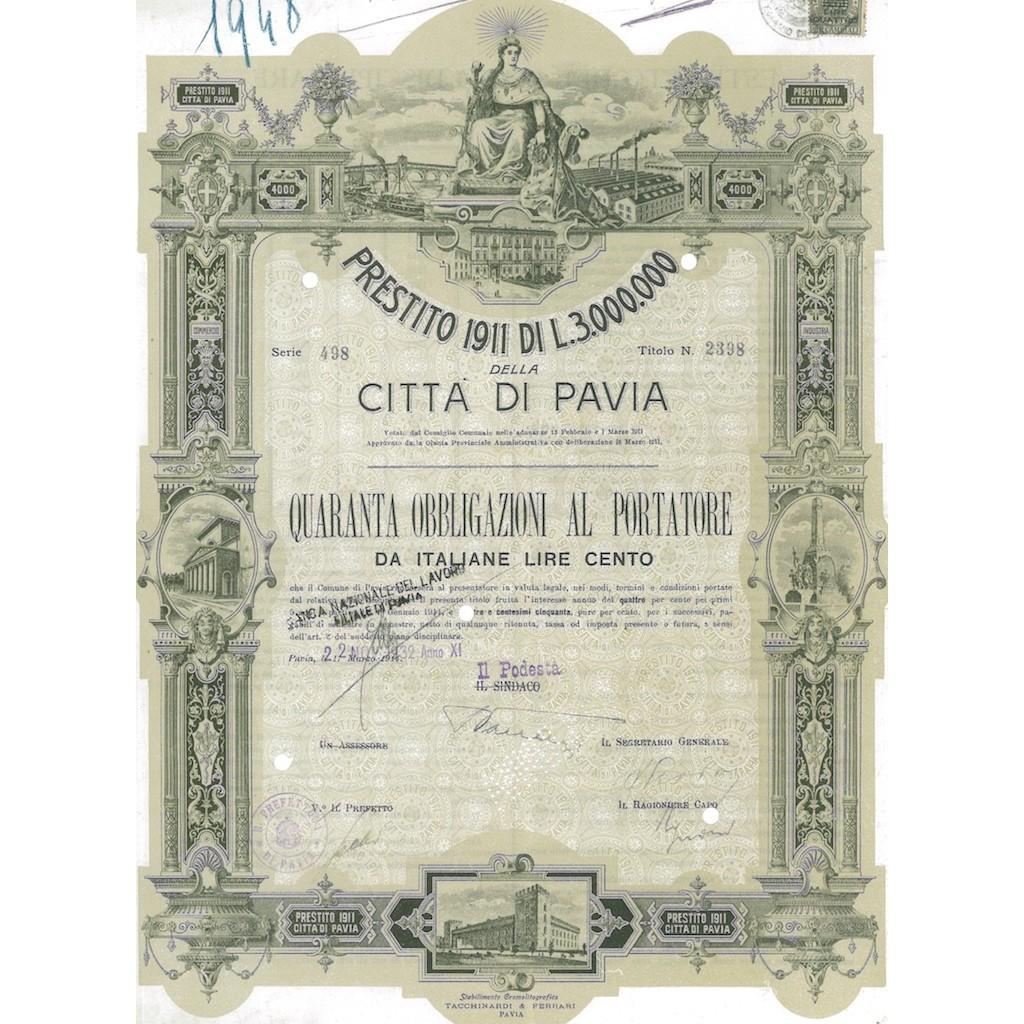 CITTA' DI PAVIA 40 OBBLIGAZIONI AL PORTATORE 1932