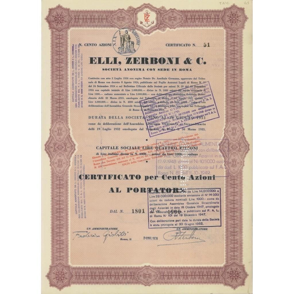 ELLI ZERBONI E C. - 100 AZIONI ROMA 1936