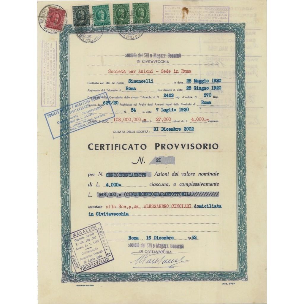 SOC. DEI SILI E MAGAZZINI GENERALI - AZIONI ROMA 1953