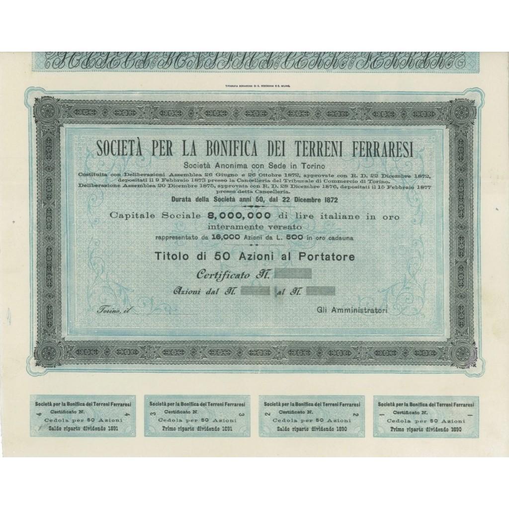 SOC. PER LA BONIFICA DEI TERRENI FERRARESI - 50 AZIONI TORINO 1872