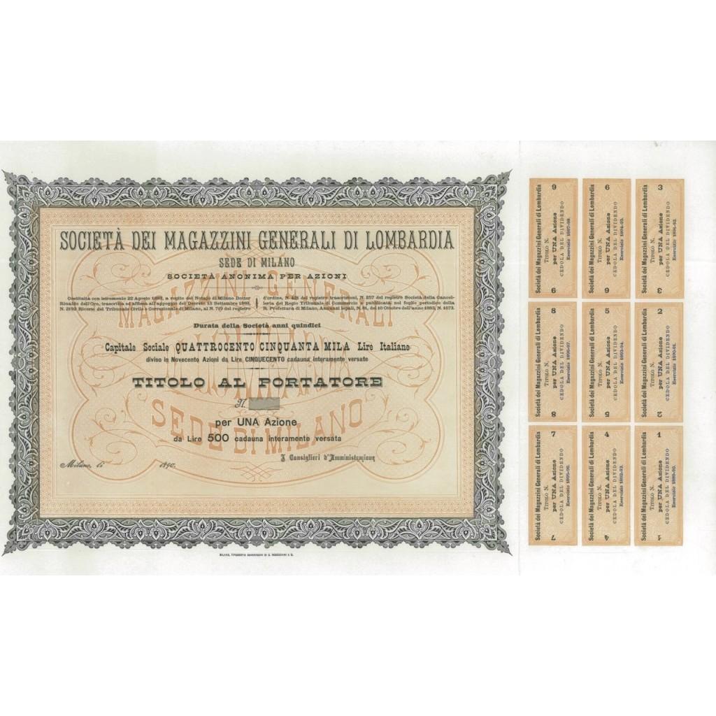SOC. DEI MAGAZZINI GEN. DI LOMBARDIA -1 AZIONE MILANO 1890