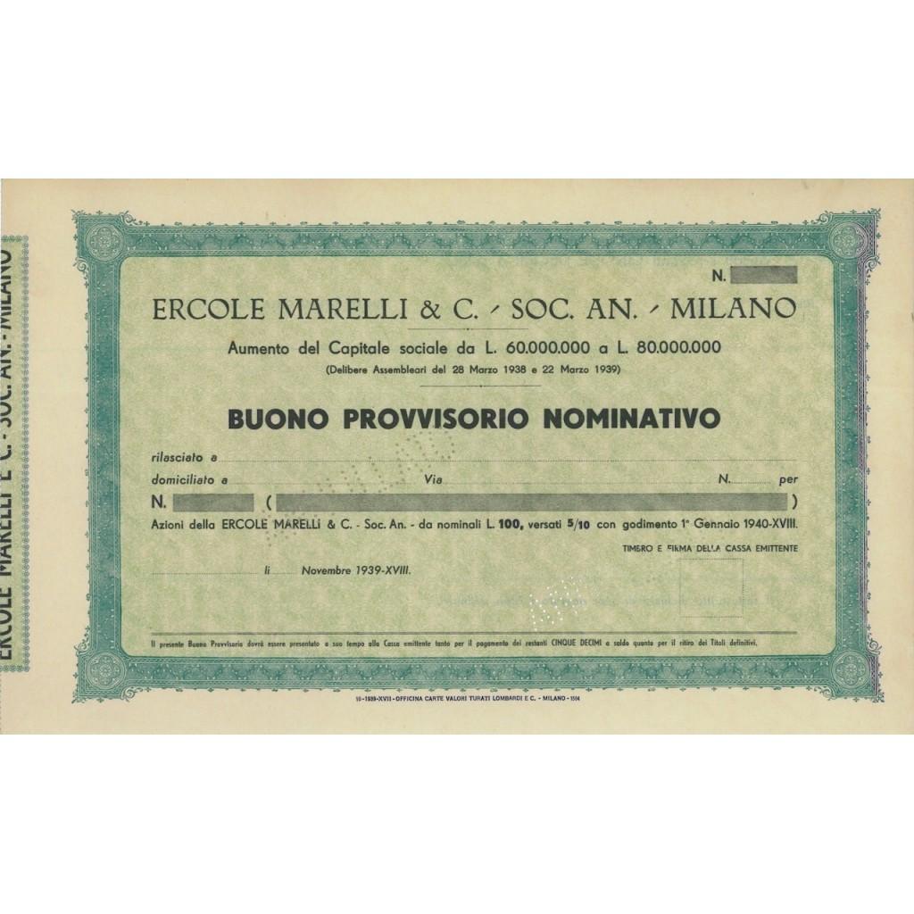 ERCOLE MARELLI E C. - SOC. ANON. AZIONI - MILANO 1939