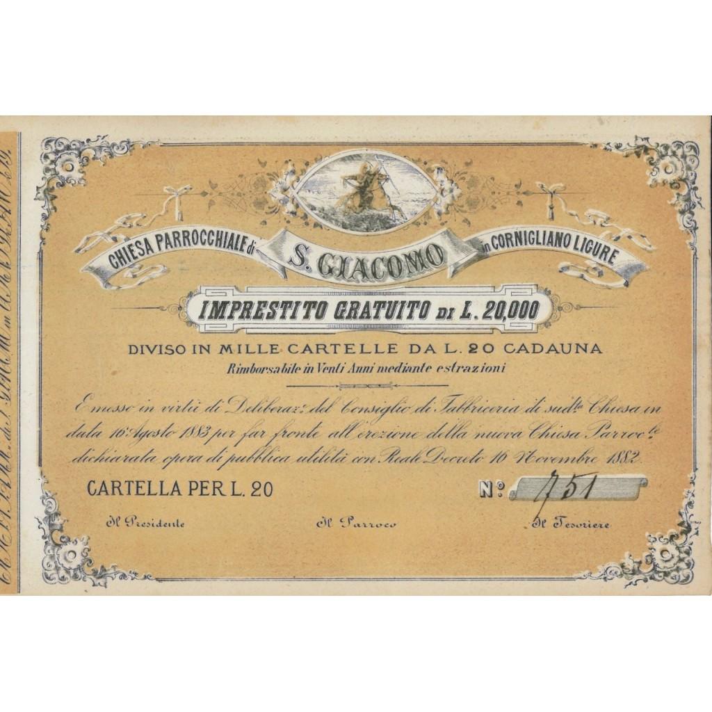 CHIESA PARROCCHIALE S. GIACOMO - UNA CARTELLA - 1882