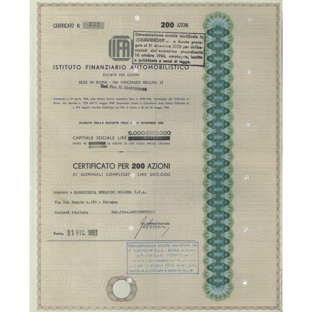 IFA IST. FINANZIARIO AUTOMOB. - 200 AZIONI ROMA 1983