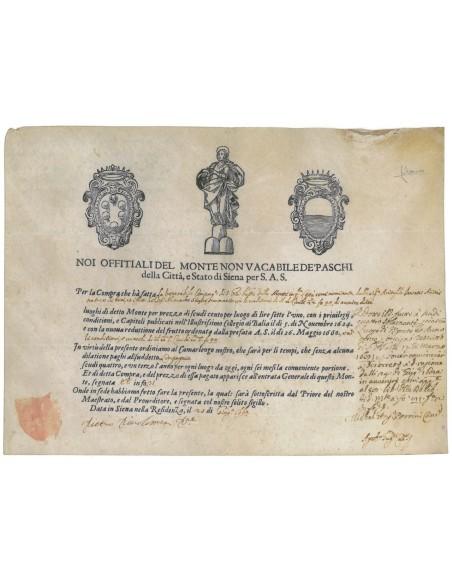 MONTE VACABILE DE PASCHI DELLA CITTA' E STATO DI SIENA PER S.A.S. 1660