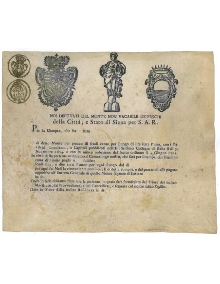 MONTE NON VACABILE DE PASCHI DELLA CITTA' E STATO DI SIENA PER SAR 1624