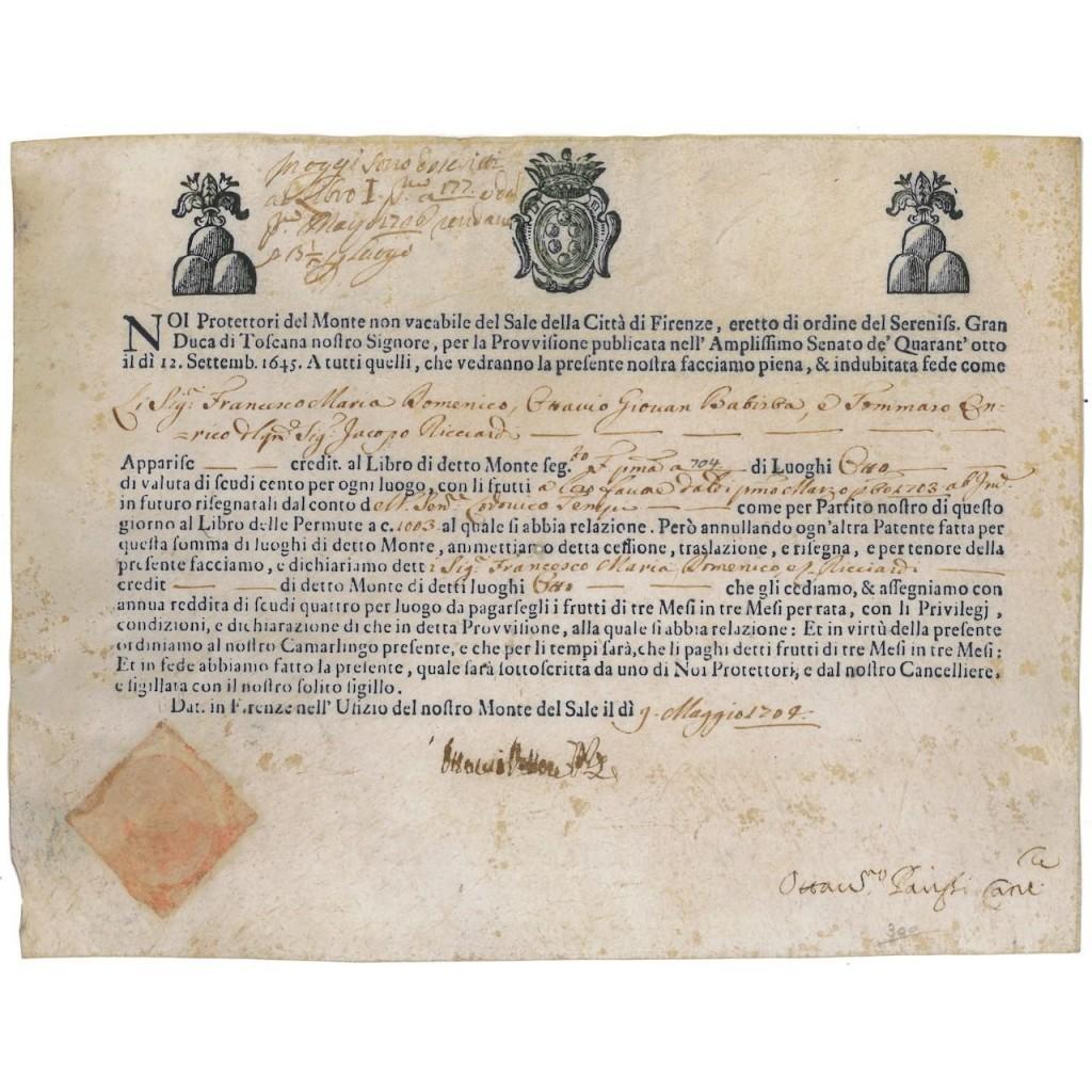 MONTE NON VACABILE DEL SALE DELLA CITTA' DI FIRENZE - 1704