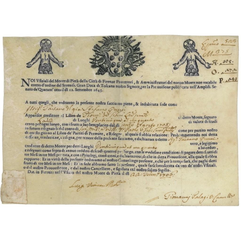 MONTE DI PIETA' DELLA CITTA' DI FIRENZE - 1706