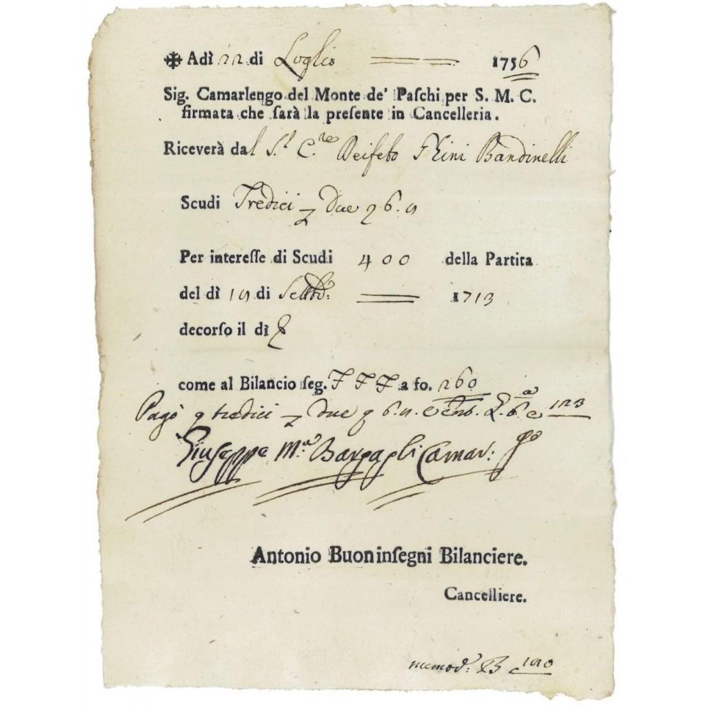 MONTE DE PASCHI PER S.M.C. - 400 SCUDI - 1756