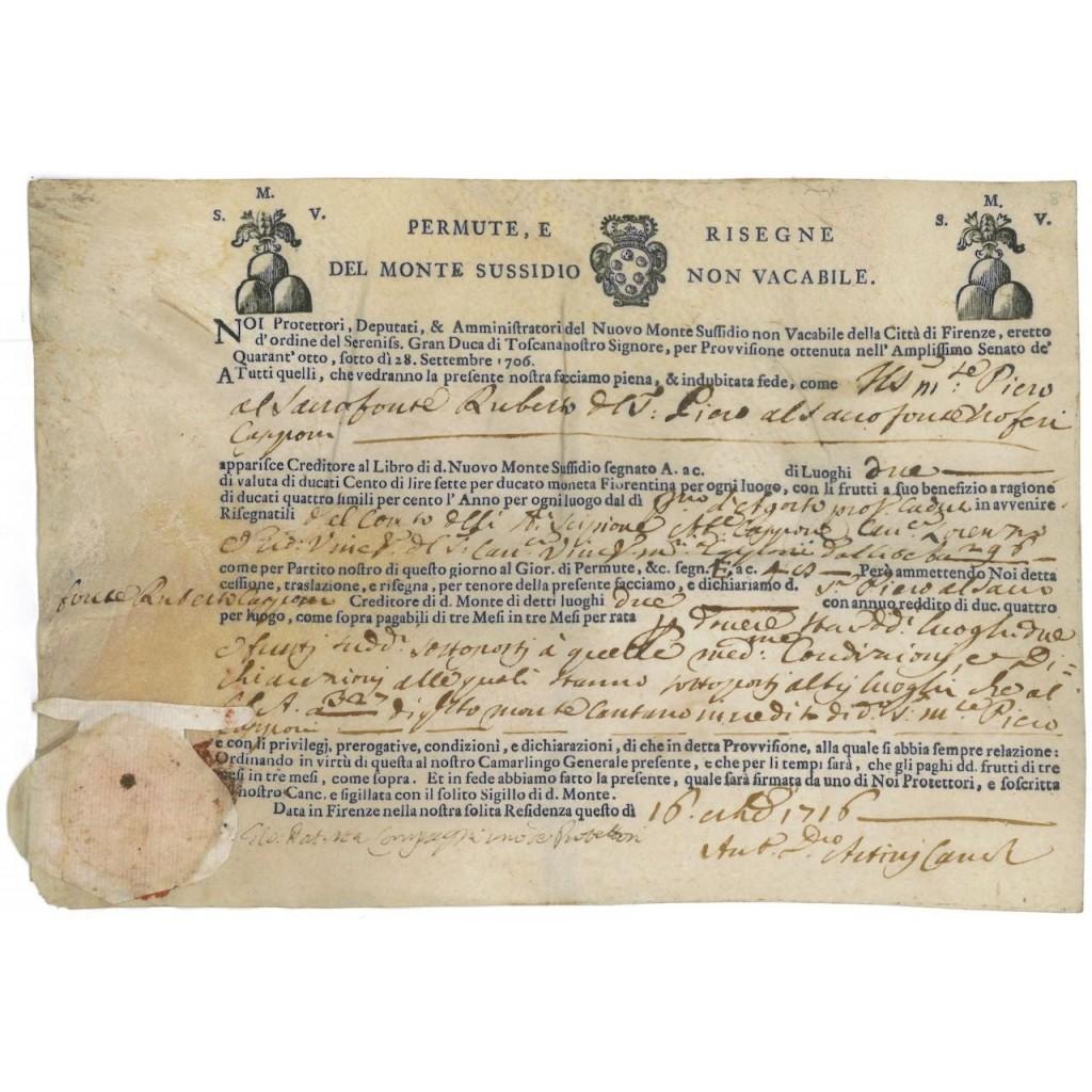 NUOVO MONTE SUSSIDIO NON VACABILE DELLA CITTA' DI FIRENZE - 1716