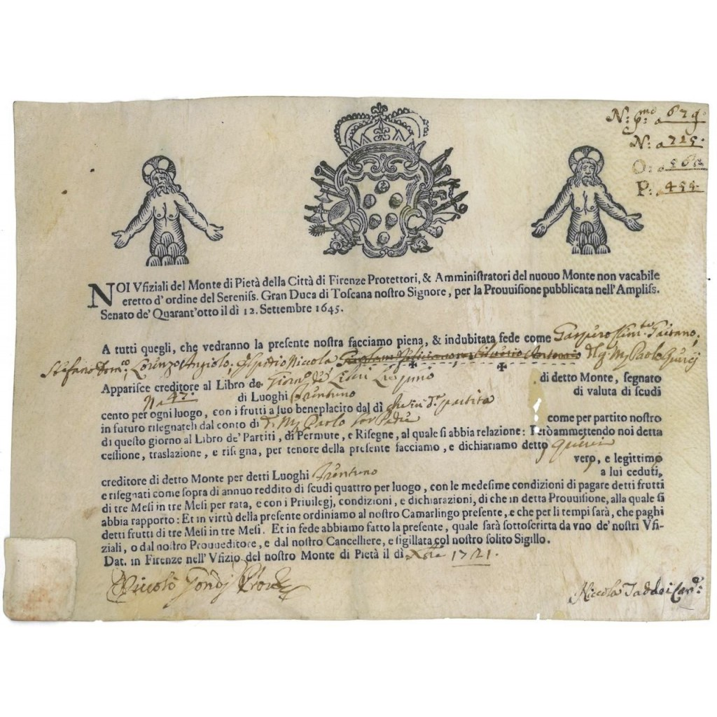 MONTE DI PIETA' DELLA CITTA' DI FIRENZE - 1721
