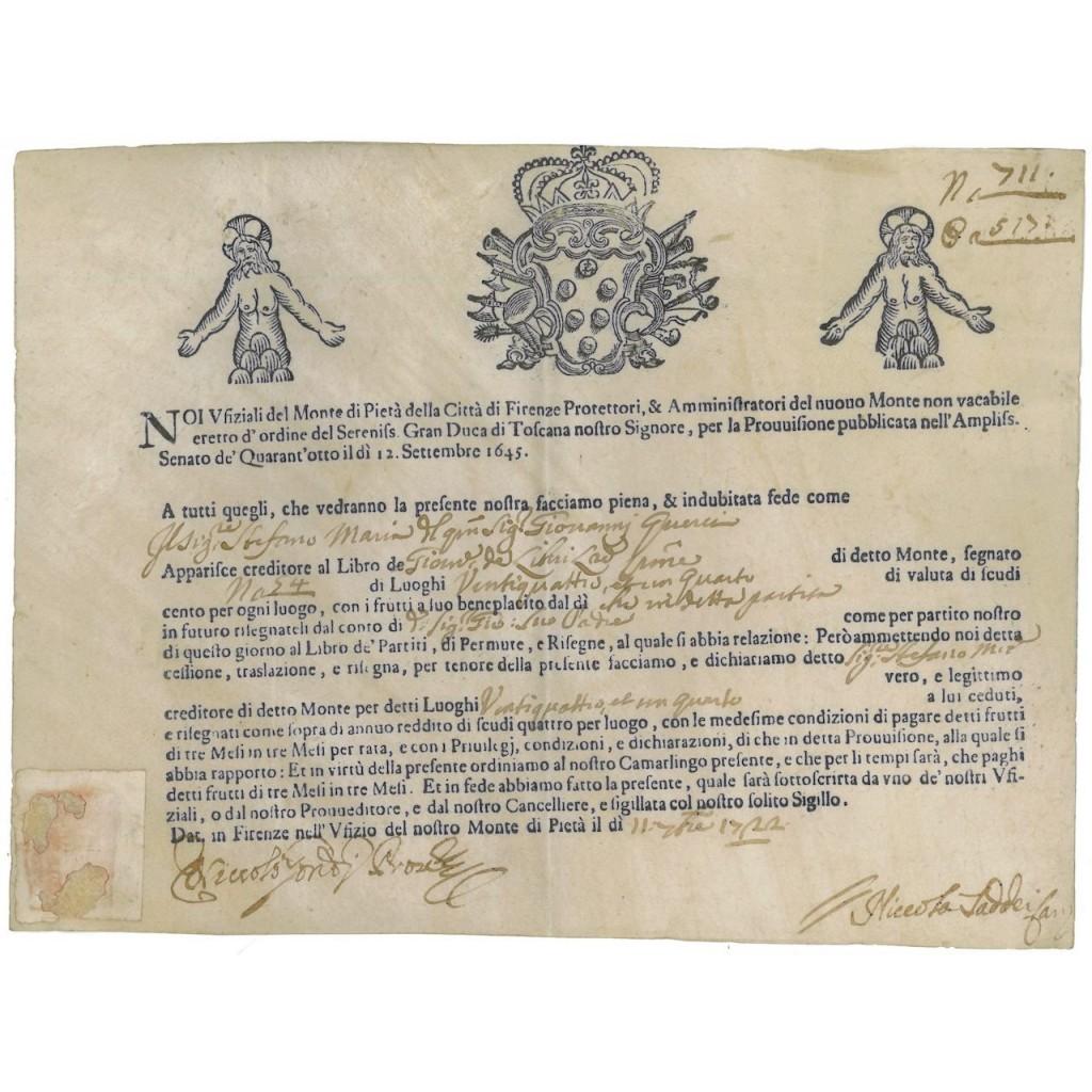 MONTE DI PIETA' DELLA CITTA' DI FIRENZE - 1722