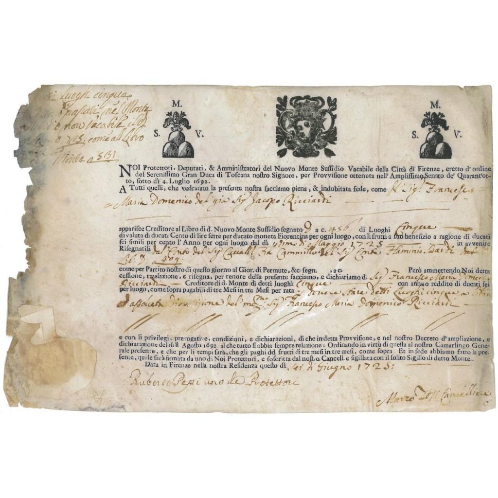 NUOVO MONTE SUSSIDIO VACABILE DELLA CITTA' DI FIRENZE 1725
