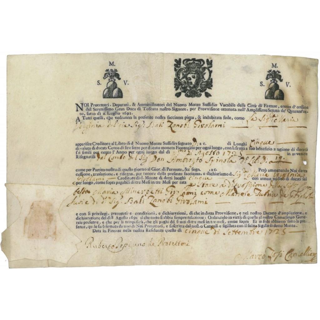NUOVO MONTE SUSSIDIO VAC. DELLA CITTA' DI FIRENZE 1725