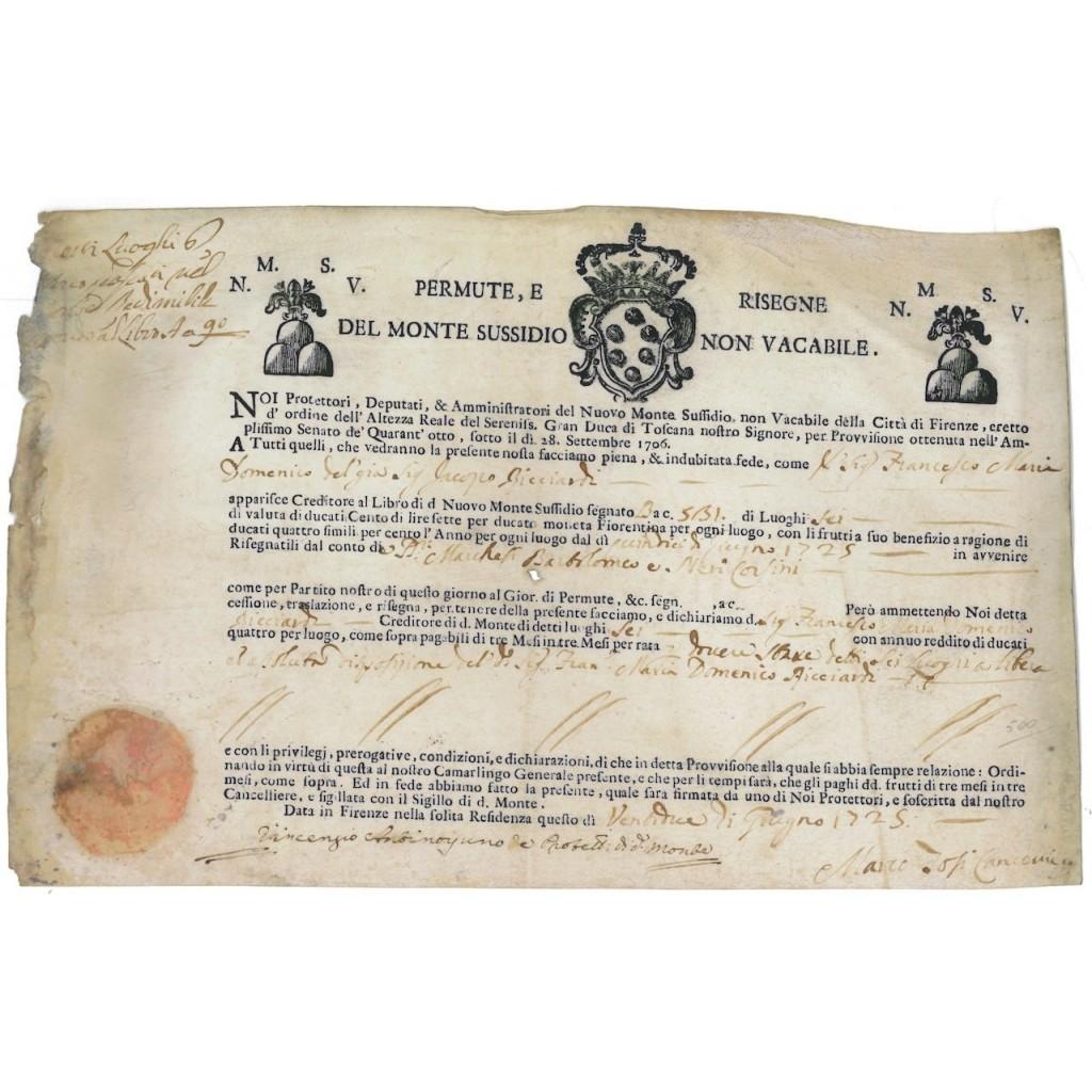 NUOVO MONTE NON VACABILE DI PIETA' DELLA CITTA' DI FIRENZE - 1725