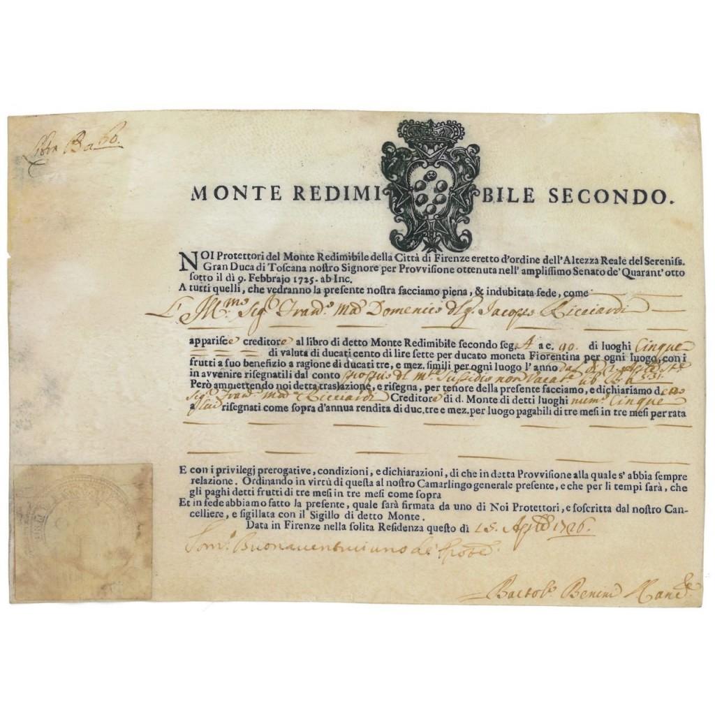 MONTE REDIMIBILE SECONDO DELLA CITTA' DI FIRENZE - 1726