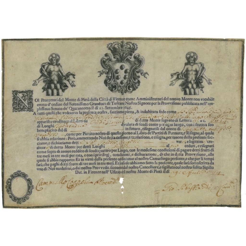 MONTE DI PIETA' DELLA CITTA' DI FIRENZE - 1734