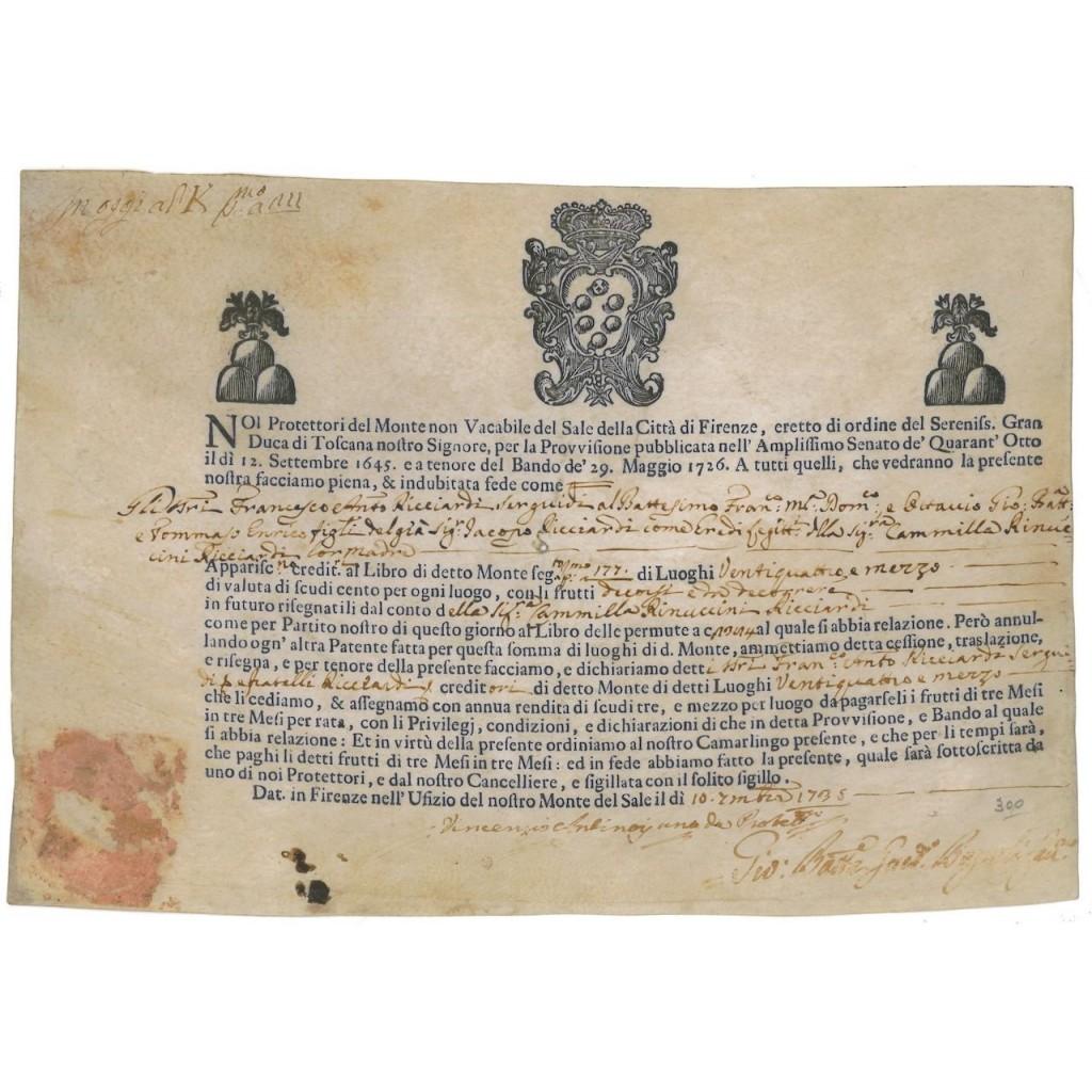 MONTE NON VACABILE DEL SALE DELLA CITTA' DI FIRENZE - 1735
