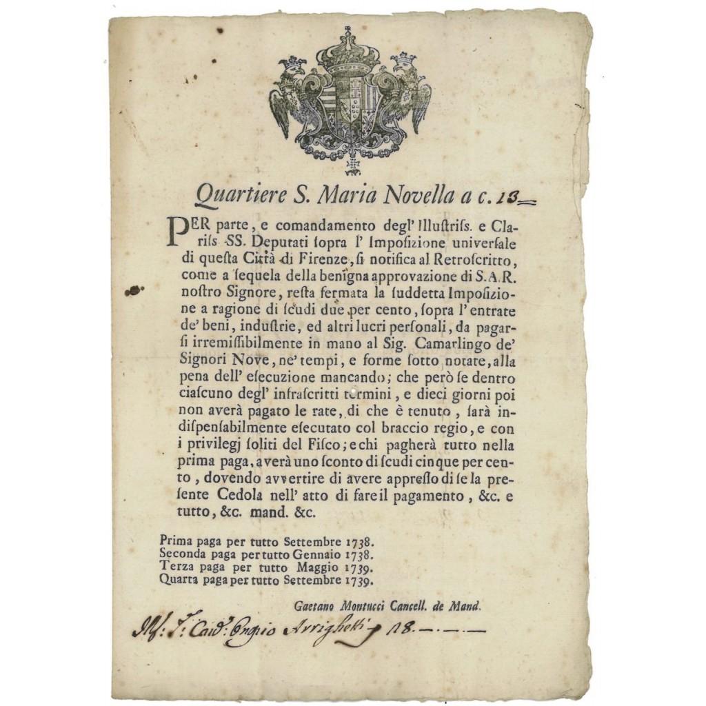 QUARTIERE S. MARIA NOVELLA CITTA' DI FIRENZE - 1738