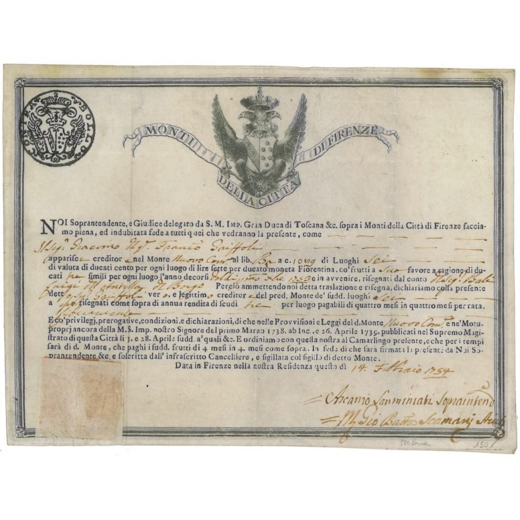 MONTI DELLA CITTA' DI FIRENZE - 1754