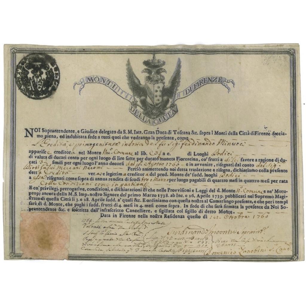 MONTI DELLA CITTA' DI FIRENZE - 1760