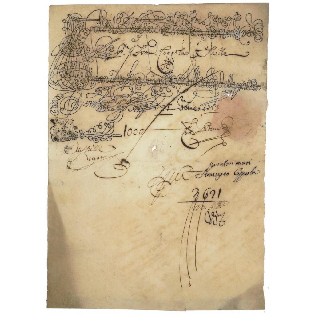 BANCO DI SAN GIACOMO E VITTORIA - FEDE DI CREDITO 1793