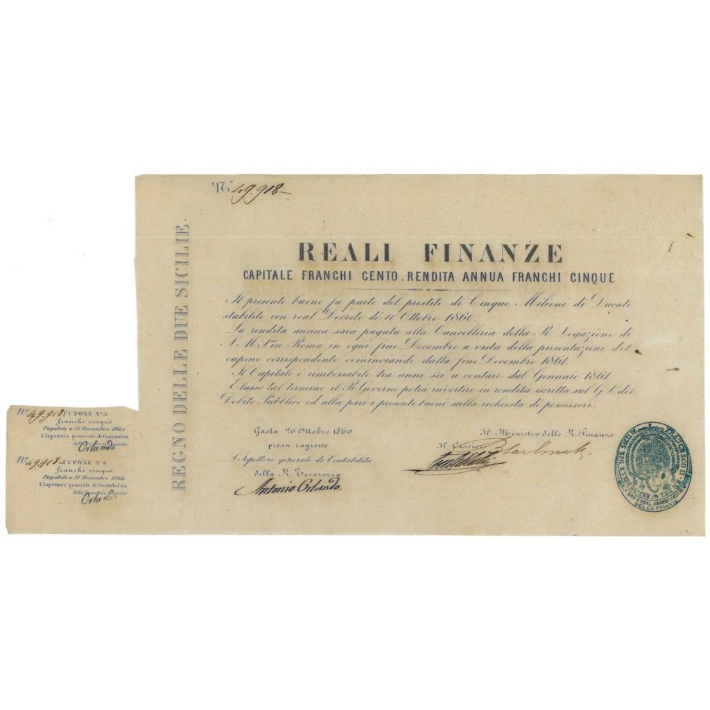 REALI FINANZE - ULTIMO PRESTITO ASSEDIO DI GAETA 1860 FIRMA CARBONELLI