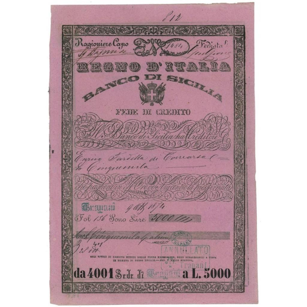 REGNO D'ITALIA - BANCO DI SICILIA FEDE DI CREDITO - 1874 TRAPANI