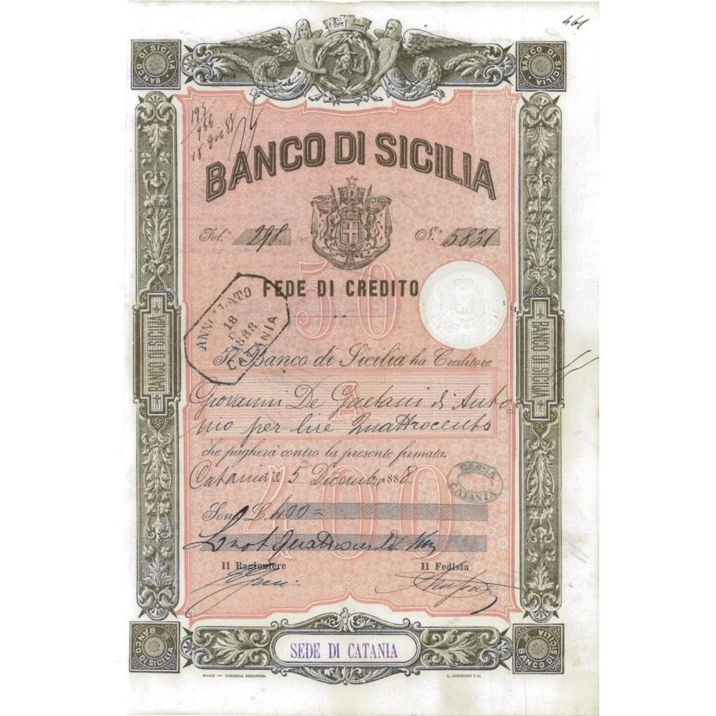 BANCO DI SICILIA - FEDE DI CREDITO 400 LIRE CATANIA 1888