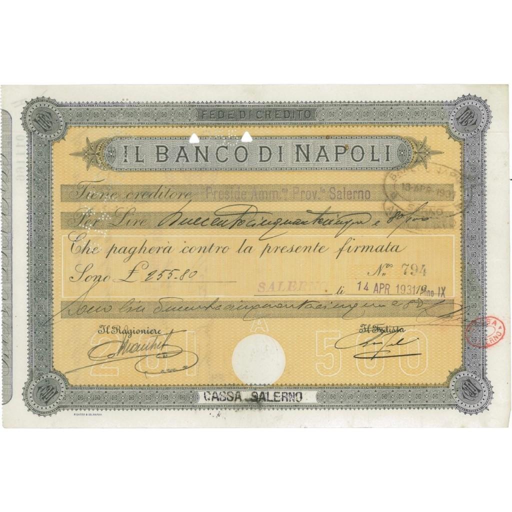 IL BANCO DI NAPOLI - CASSA SALERNO - 1931