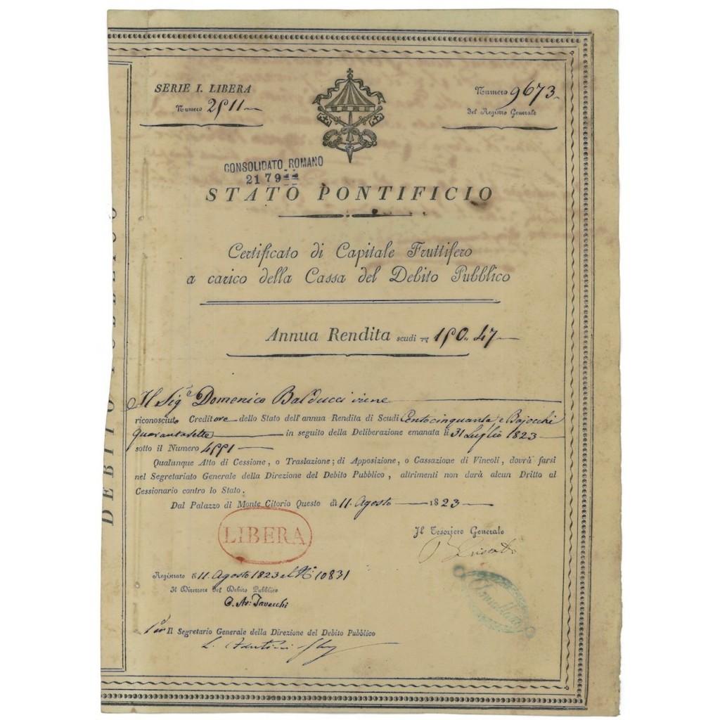 STATO PONTIFICIO - CERT. FRUTTIFERO - SERIE 1 LIBERA - 1823
