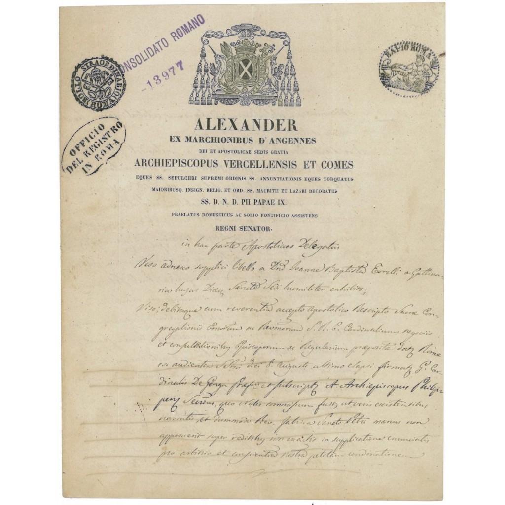 DEB. PUB. STATO PONTIFICIO CONSOLIDATO ALESSANDRO D'ANGENNES 1857