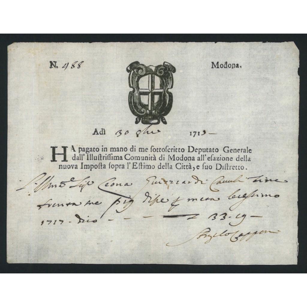 DUCATO DI MODENA - FEDE DI CREDITO - 1713