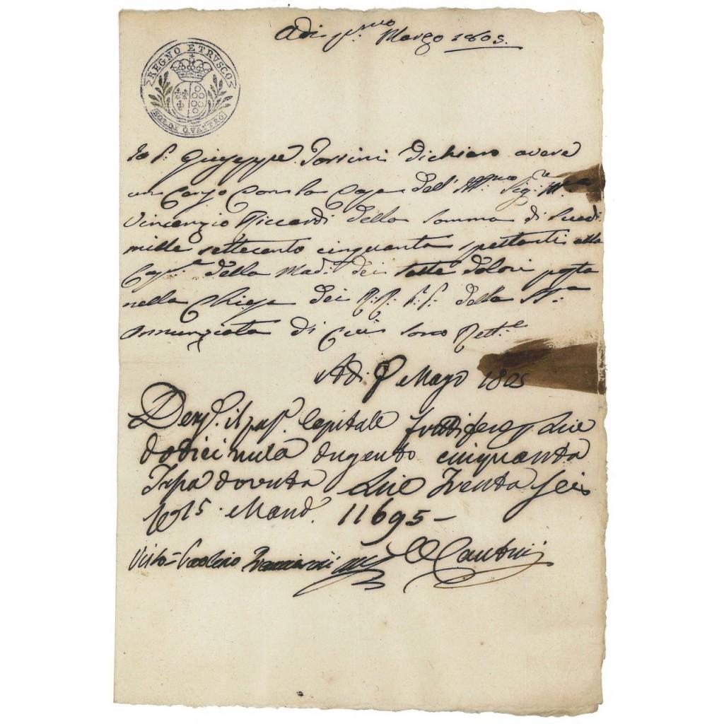 FEDE DI CREDITO REGNO D'ETRURIA - 1805