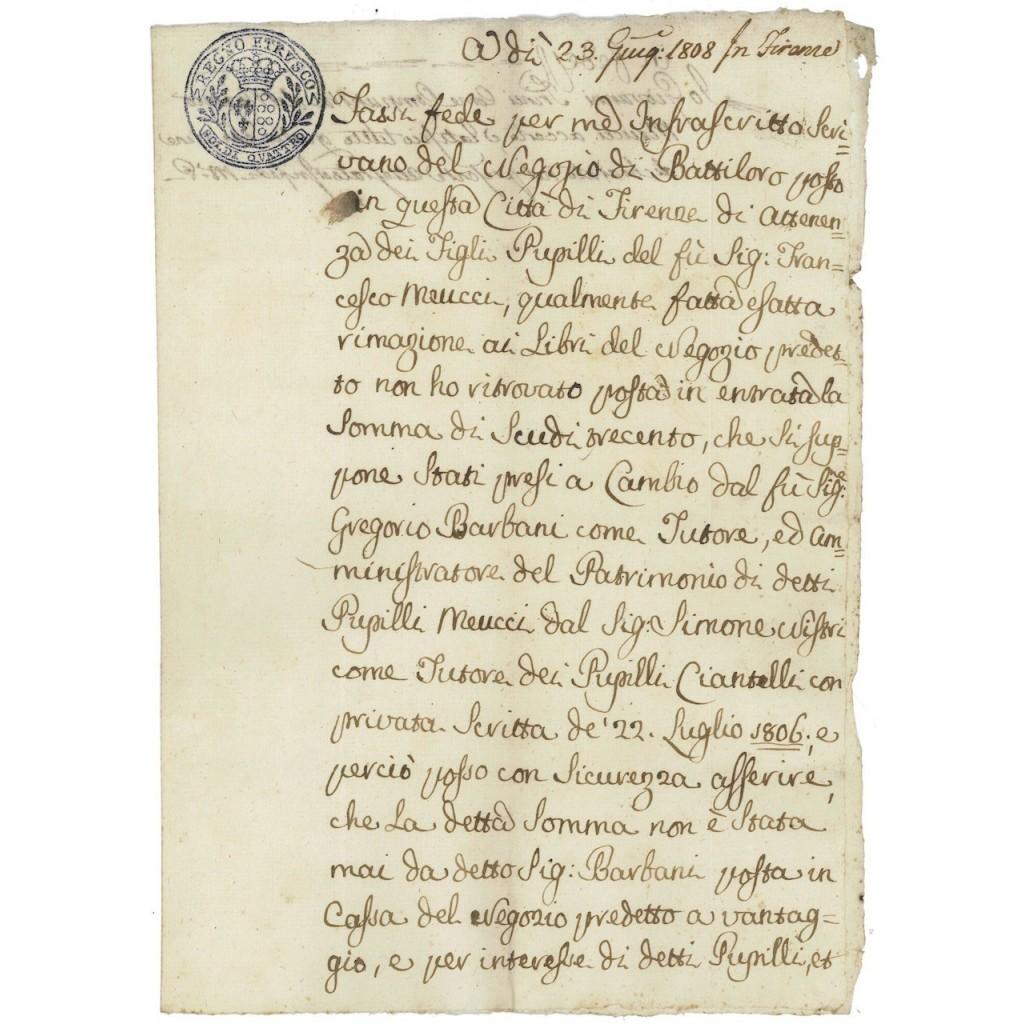 FEDE DI CREDITO PERIODO NAPOLEONICO - R. ETRUSCO 1808