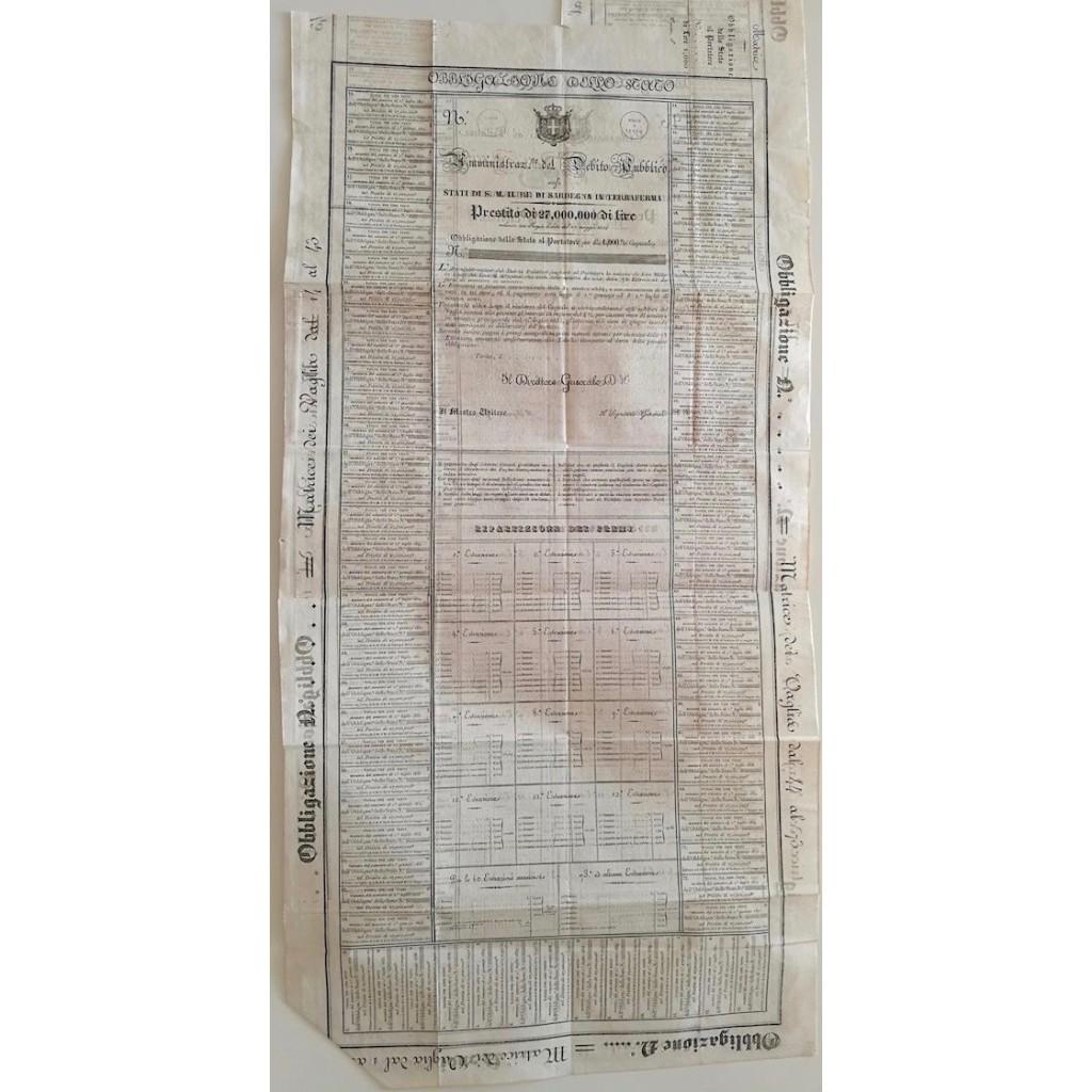 OBBLIGAZIONE AL PORTATORE PER 1000 LIRE - 1834