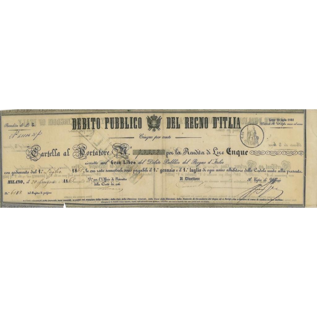 CARTELLA AL PORTATORE CON RENDITA LIRE 5 - NAPOLI 1865