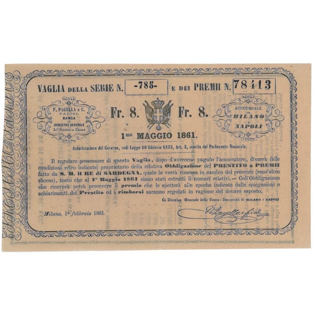VAGLIA DI FRANCHI 8 PER OBBLIGAZIONE - MILANO 1861