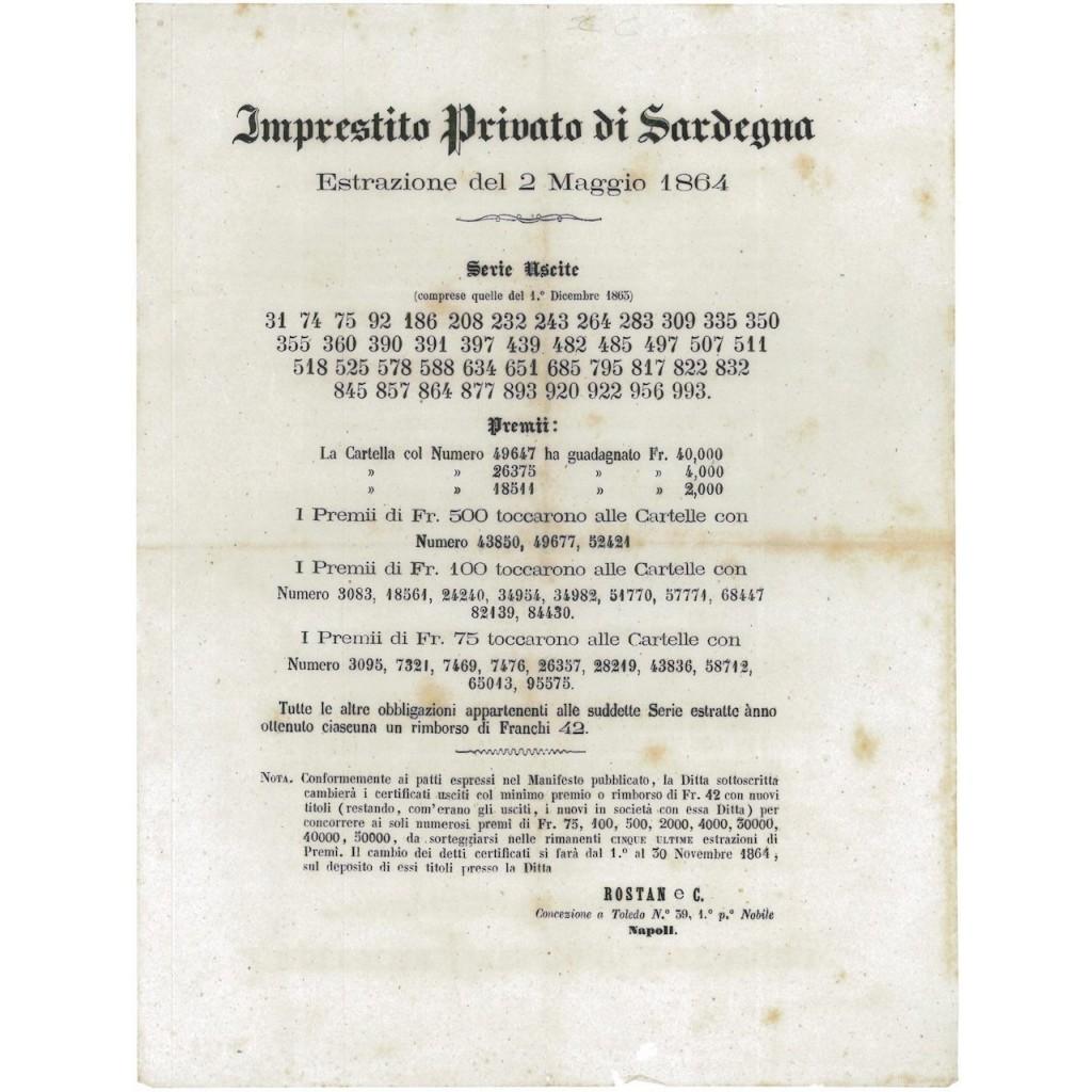 IMP. PRIVATO RE DI SARDEGNA - ESTRAZIONE DEL 1 DICEMBRE, 1864