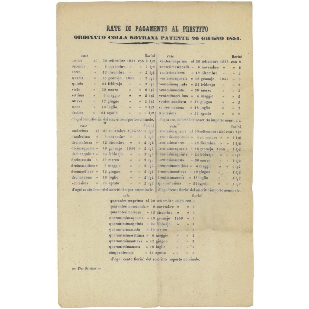 VOLANTINO RATE PAGAMENTO AL PRESTITO PATENTE 26 GIUGNO 1854