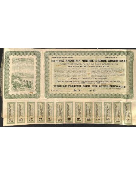 SOC. ANONIMA MINIERE ED ACQUE ARSENICALI 1 AZIONE PRIV. GENOVA 1909